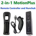 BLACK 2-in-1 Wireless Remote Controller For Nintendo Wii Controller Built in Motion Plus + Nunchuk With Silicone Case Gamepad