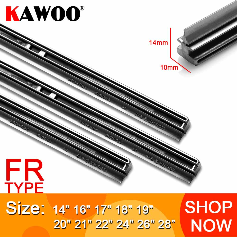 "KAWOO Auto Windscreen Car Wiper blade Strips Vehicle Insert Rubber Strip 14""16""17""18""19""20""21""22""24""26"" FR 10mm 1pcs Accessories"
