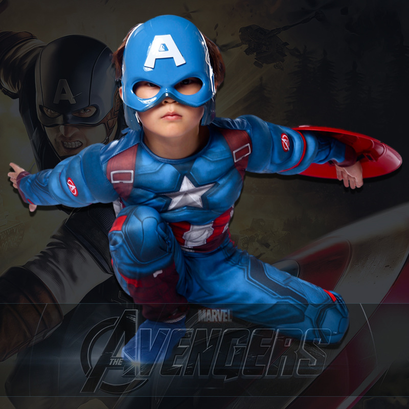 Chirldren's Blue The Avengers Captain America  Muscle Costume Suit Cosplay For Boy's Halloween Masquerade Party Size S-L