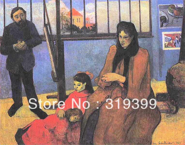 Peinture à l'huile Reproduction sur toile de lin, Effet de neige, Familie Schuffenegger 1989 par Paul Gauguin, fait main, qualité du musée