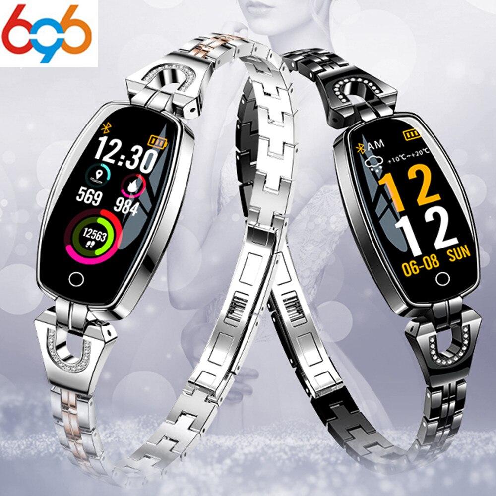 696 H8 חכם להקת נשים ילדה Smartwatch אופנה חכם צמיד תמיכת לב קצב שינה צג לחץ דם עמיד למים Fitnes-בצמידים חכמים מתוך מוצרי אלקטרוניקה לצרכנים באתר