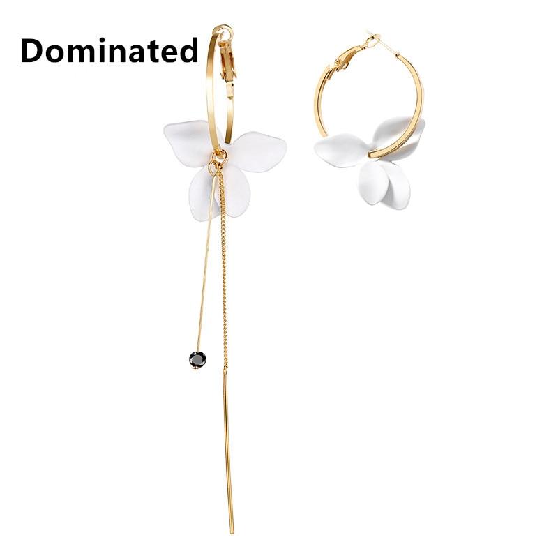 Dominated Women Simple Flower Chain Tasseled Earrings Asymmetric Personality