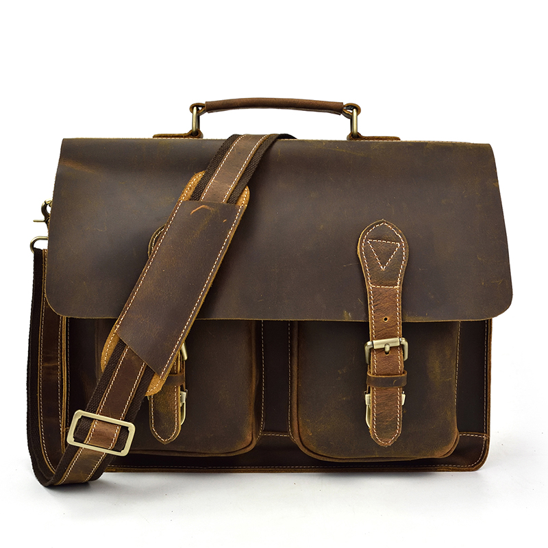 Men Original Leather Heavy Dudy Business Briefcase Laptop Case Professional Executive Portfolio Organizer Messenger Bag