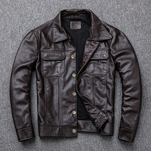 Chic Mens leather jackets Real Cow moto & Biker S-4XL size Fashion men real coat  G132