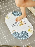 Bathroom Carpet Anti skid Oval Bath Special Suction Cup Green Flower Mat