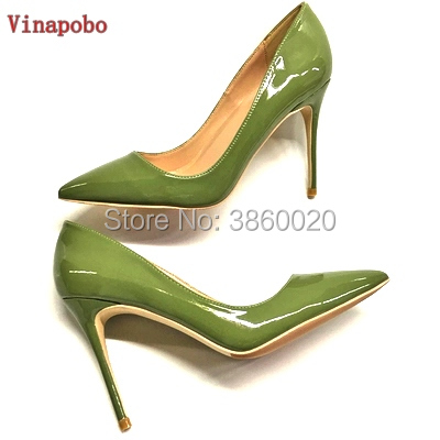 Ladies Designer Pointed Toe Shoes Women 12 10 8cm Patent Leather Green Nude Stiletto High Heels