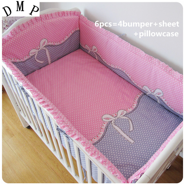 Promotion! 6PCS Pink Bow Crib Bedding Set Soft Baby Sheet Bumpers,Comfortable Baby Bedding Set (bumper+sheet+pillow cover) promotion 6pcs pink bow kids sheet and bumpers for crib cot baby crib bedding set on sale bumper sheet pillow cover