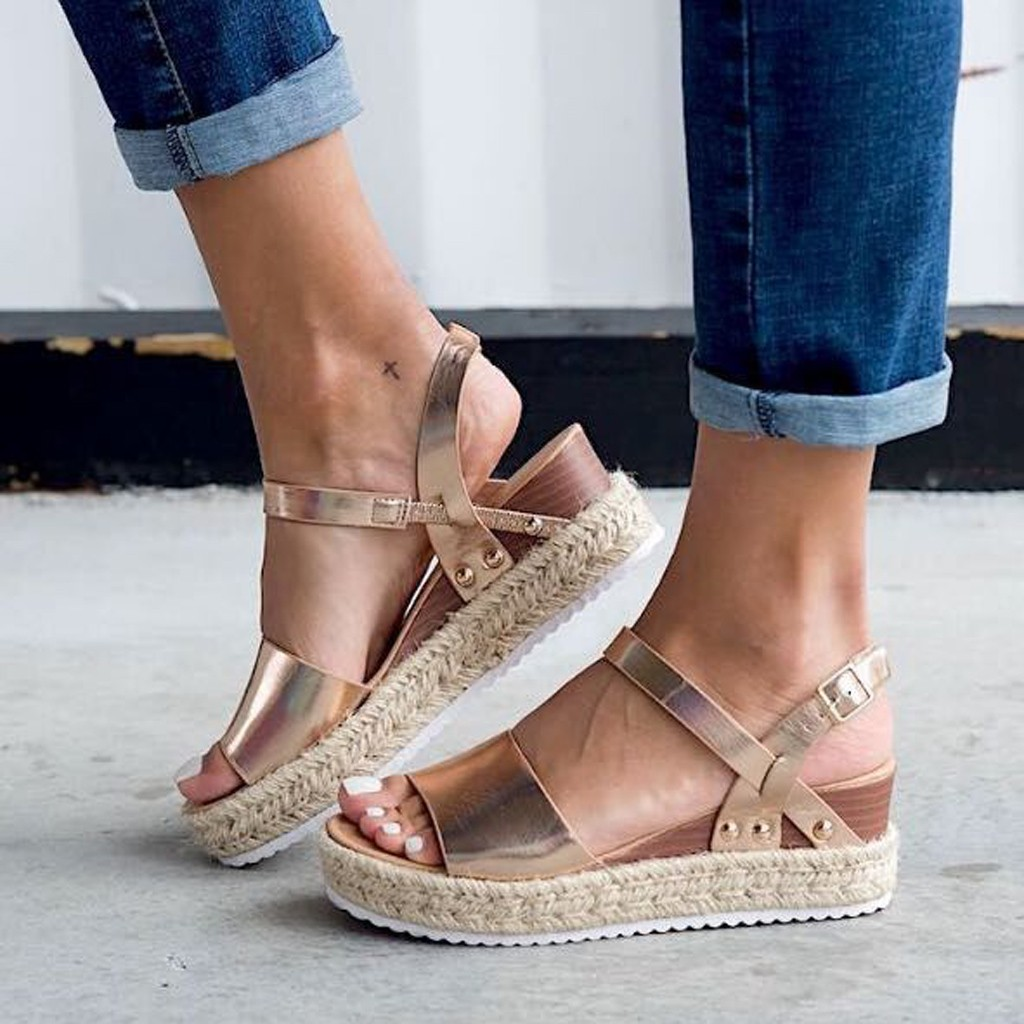 SAGACE Shoes 2019 Summer Women Fashion Solid Color Sandals Buckle Strap Wedges Platform Retro Peep Toe Sandals  May14