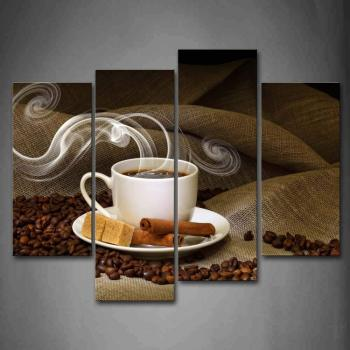 Brown A Cup Of Coffee And Coffee Bean Wall Art Painting Pictures Print On Canvas  For Home Decor, Ready to Hang Drop shipping