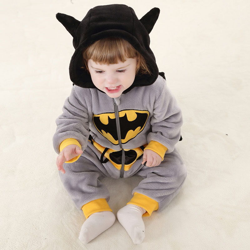 Cute Autumn Winter Hoodie Batman Bodysuit Toddler Baby Boys Warm Flannel Bodysuit 2017 New Bebes Jumpsuit Body Suit For Newborns худи boys hoodie