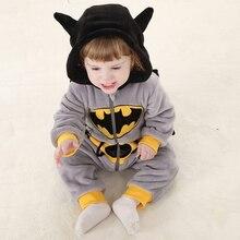 Cute Autumn Winter Hoodie Batman Bodysuit Toddler Baby Boys Warm Flannel Bodysuit 2017 New Bebes Jumpsuit Body Suit For Newborns