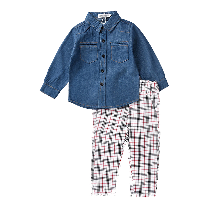 Kids Baby Boy Clothes Suit 2018 Fashion Children Denim Shirt + Plaid Pants 2 Pieces/Set Boys Clothing Set for Age 1-5 Years yellow dino boy clothes set roar children t shirt plaid pant suit kids outfit 100% cotton tops panties 2 3 4 5 6 7 year clothing