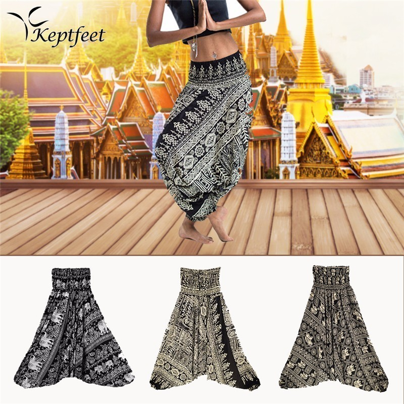 Ladies Comfy Yoga Beach Baggy Gypsy Women Harem Pants Trousers Indian Summer Loose Yoga Pants One Size 2017 new women jeans mid waist woman harem pants denim drawstring light loose patchwork trousers spliced summer length