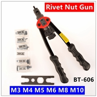 Free Shipping 12 Blind Rivet Nut Gun Heavy Hand INSER NUT Tool Manual Mandrels M3 M4