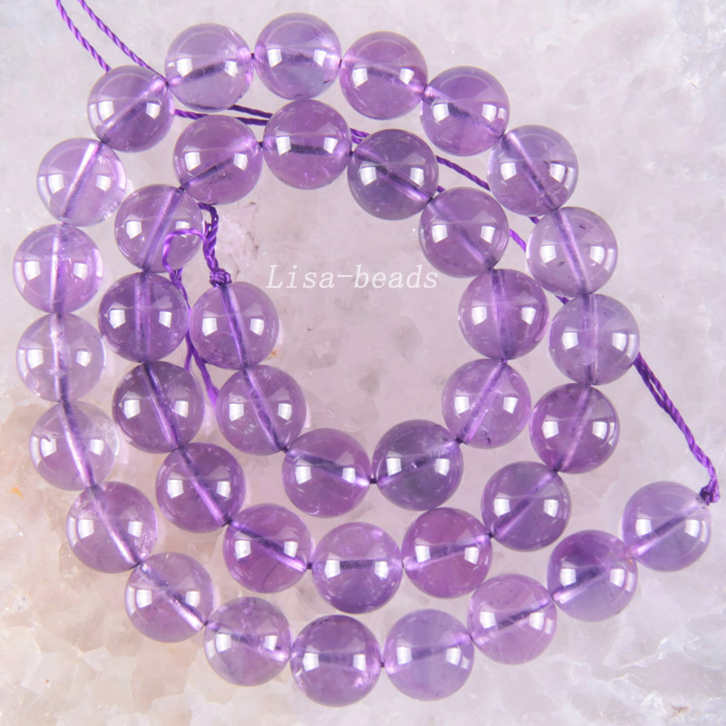 Free Shipping Fine Jewelry Round Purple 10MM 100% Natural AA Purple Crystal Loose Beads Strand 15.5 (39 beads) J014 - 2