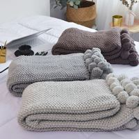 Nordic Soft Reversible Pom Pom Knitted Throw Crochet Blanket Cotton Rug Bed Sofa Home Decoration 130x160CM