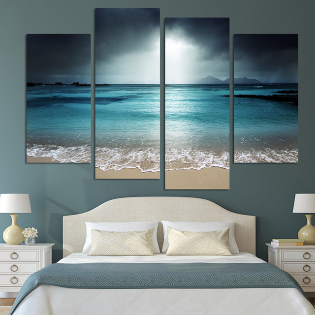 Us 18 9 4 Panels Unframed Wall Art Painting Canvas Prints Pictures Sea Beach Cuadros Lienzos For Living Room Home Decor In Calligraphy