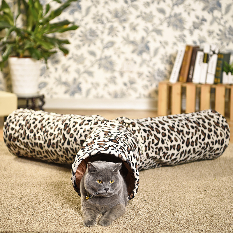 Pet Play Tunnel Pet Cat Tunnel Estampado de leopardo Crinkly 3 maneras Diversión Tunnel Ball Kitten Juguete plegable Conejo Juguetes Gato Productos