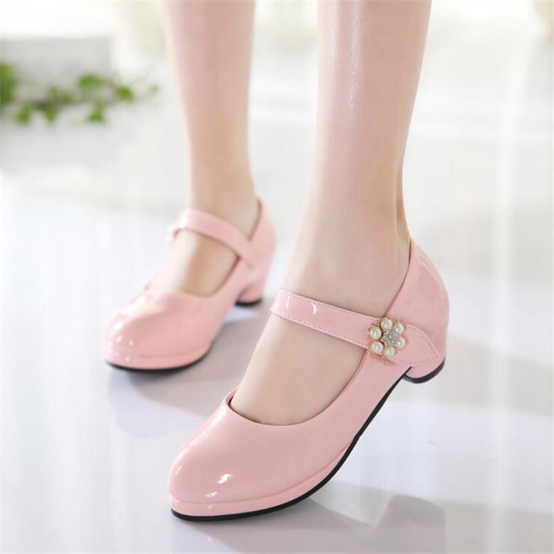 Girls High Heel Shoes Spring High-grade pearl Leather Shoes 2018 Children Shoes Princess Sweet Sandals Girls Wedding shoes