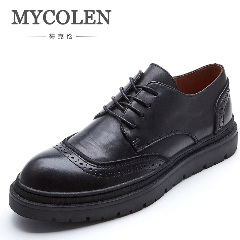 MYCOLEN Luxury Italian Men Brogue Dress Shoes New Fashion Formal Business Shoes For Men British Brand Men Leather Flats hot sale luxury brand men classic oxfords italian mens leather dress shoes new men formal shoes black white patch flowers 39 46