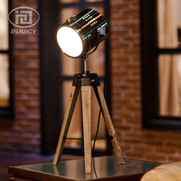 European Style Retro Real Wood Tripod Table Lamp Study Office Spot Light Photography LED Desk Lamp For Home Bedroom Decor Cafe