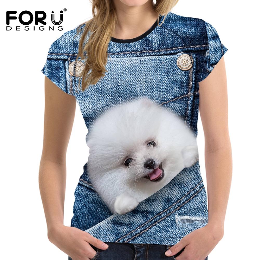 FORUDESIGNS Denim 3D Pomeranian Dog Mujer Camiseta de Verano de Manga Corta Mujer Tops Crop Mujer Casual Camisas de Moda Femenina Tee