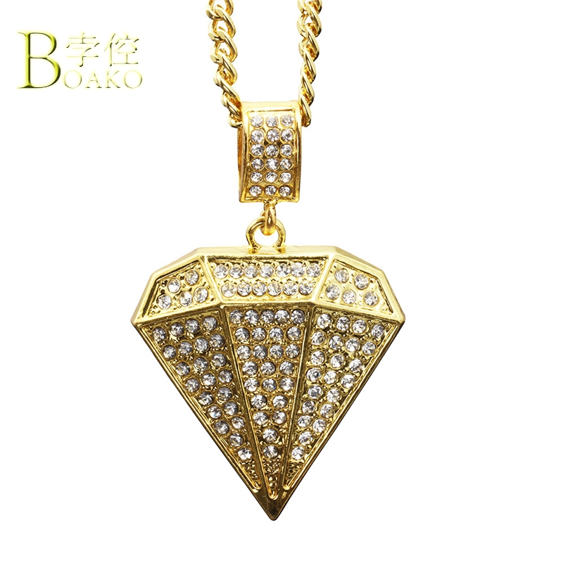 BOAKO Bling Rhinestone Neckalce Men Rapper Zircon Crystal Pendant Necklace Hip Hop Gold Chain collar Iced Out Jewelry B5
