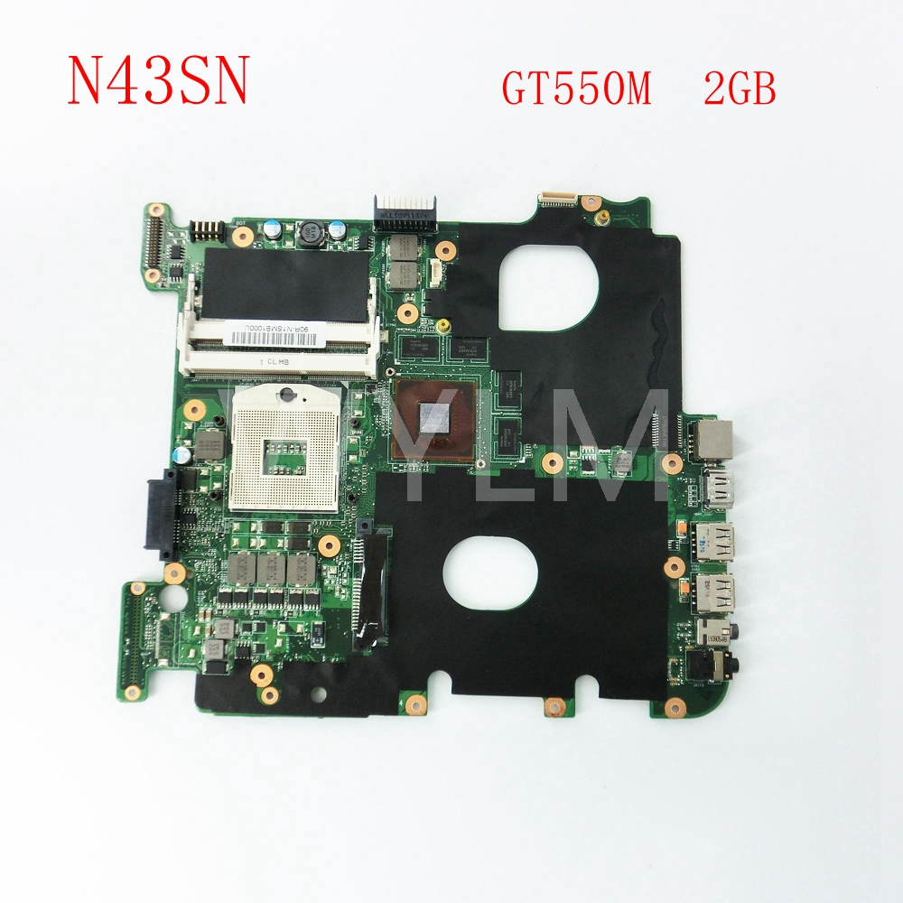 free shipping N43SN GT550M 2GB DDR3 mainboard For ASUS N43SM N43SN N43SL laptop motherboard MAIN BOARD 100% Tested Working Well free shipping brand original k55vm laptop motherboard main board 69n0m2m11c06 100% tested working well