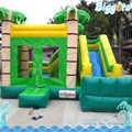 Free Sea Shipping Commercial Green Jungle Bouncer House Combo with Slide