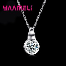 Classic Round Pendant Long Necklace For Women Top 925 Serling Silver Shinning CZ Wedding Jewelry Gift Free Shipping(China)