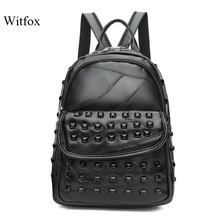 Black rivet bag for women classic backpack for travel street wear Eroupean fashion bags