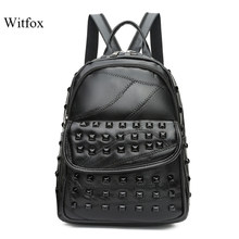 Black rivet bag for women classic backpack for travel street wear Eroupean fashion bags(China)