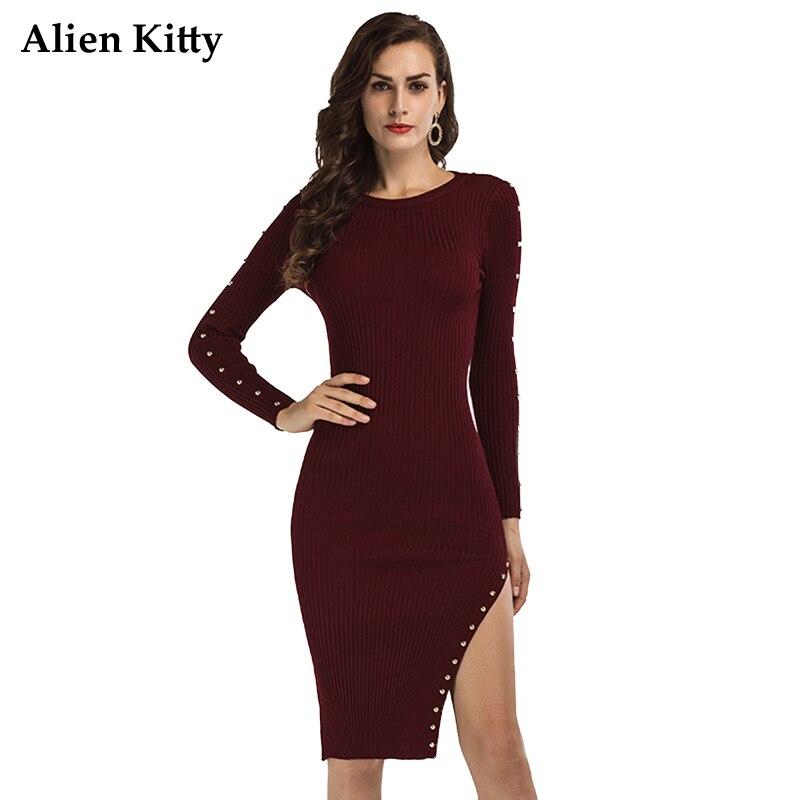 Alien Kitty Autumn Round Neck Sheath Knitted Dress For Women 2017 Diamonds Knee-Length Lady Dresses Long Sleeve Irregular New stylish round neck long sleeve stereo flower embellished knitted dress for women