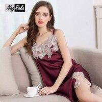 Summer lace sexy women 100% silk nightgowns spaghetti strap nuisette ladies sleepdress noble elegant nightdress women sleepwear