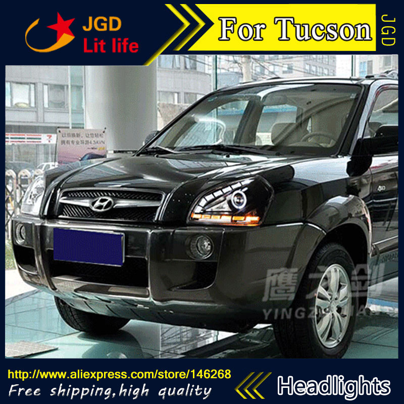 Free shipping ! Car styling LED HID Rio LED headlights Head Lamp case for Hyundai Tucson 2005-2009 Bi-Xenon Lens low beam pink vietnam sandals flats female summer outdoor leisure shoes