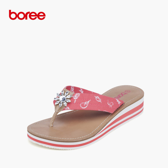c247d74f7b965d Boree Summer Women s Sandals Fashion Flip Flops Casual Shoes Canvas Crytal  decor Non-Slip Thick Soled Beach Slippers 58019
