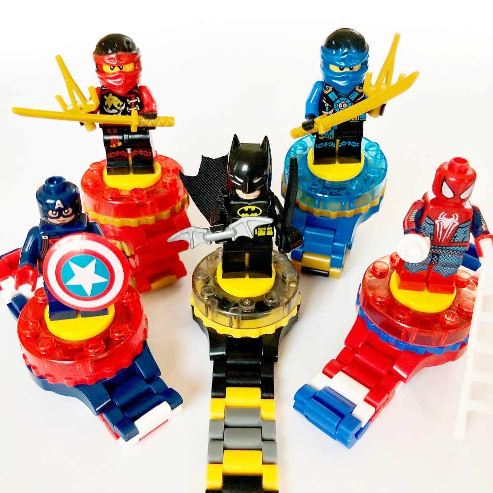 Super Hero Watch Building Stack Block Boy Ninjagoes Marveling Spidermen Batmen Avengers Figure Brick Toy Minecrafted Kid Child