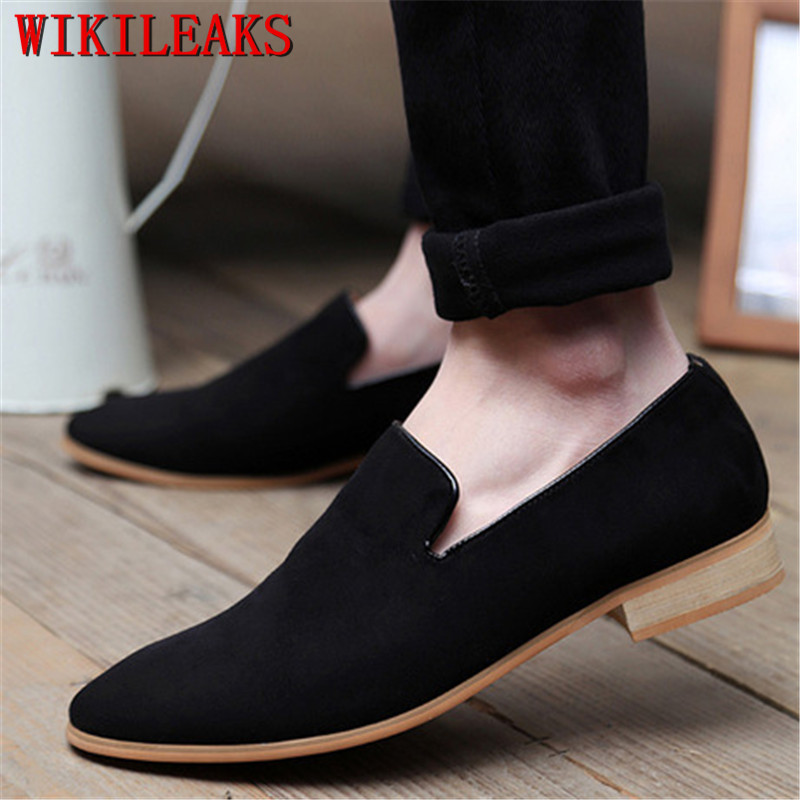 Men Loafers   Suede     Leather   Pointed Toe Oxfords Business Dress Shoes Oxford Shoes For Men Flats Formal Wedding Shoes Sapato Social