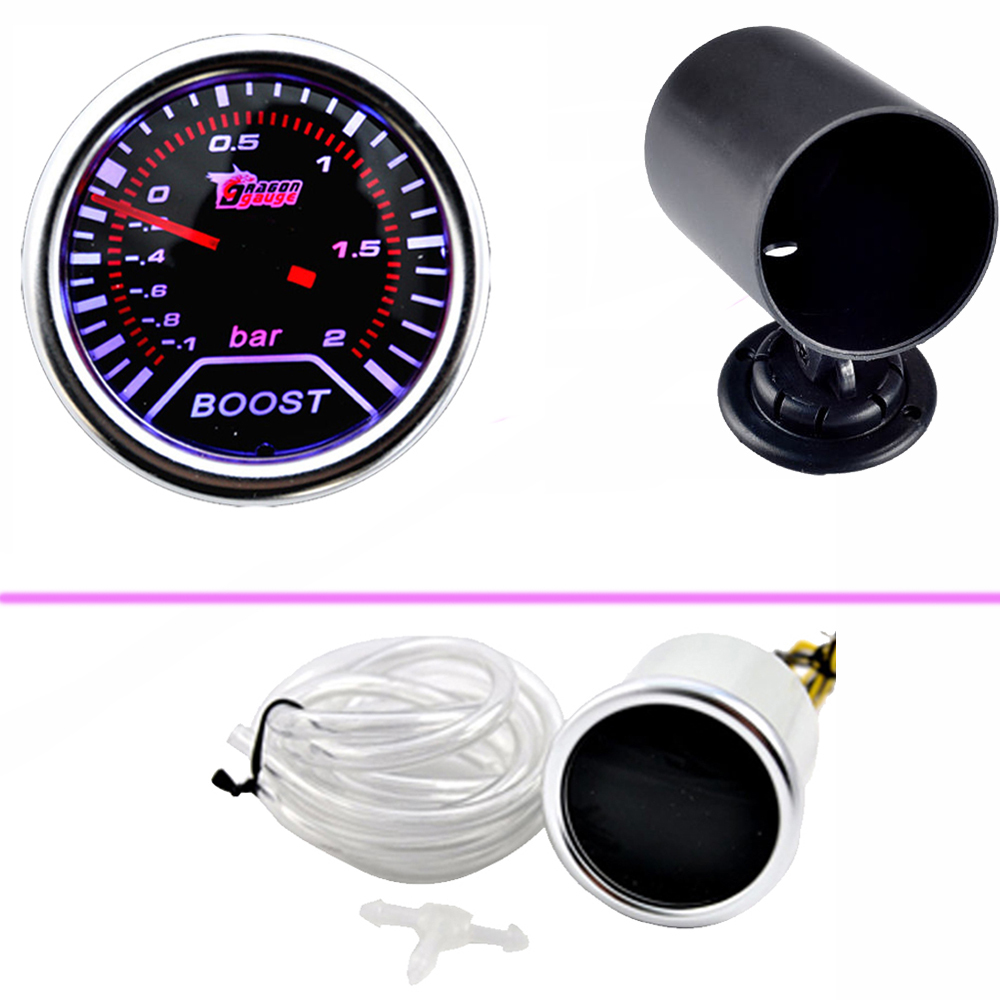 "EE-støtte Bil Universal Smoke Len 2 ""52mm Bar Turbo Boost Bar Gauge Meter 52mm Black Gauge Pod Bildeler Bilstyling"