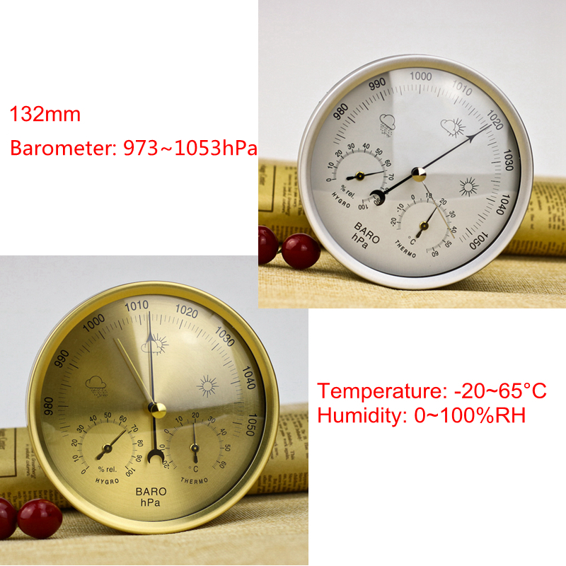 цена 132mm Analog Barometer Thermometer Hygrometer 3 in 1 Weather Station Temperature Humidity Atmosphere Pressure Meter Monitor