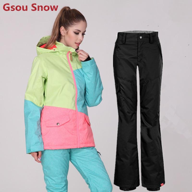 Prix pour Gsou Snow Coloré de Ski En Plein Air Costume Femmes Chaud Épais de Neige Imperméables Vestes Et Pantalons Femme Snowboard Jackets-30 Degré