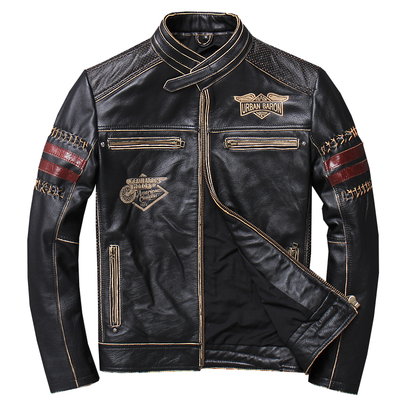 Handsome Motorrad Leder Bekleidung Männer Stehen Kragen Erstens Schicht Rindsleder Leder Harley Jacke Dünne Kurze Mantel fale Punk mantel-in Echte Ledermäntel aus Herrenbekleidung bei  Gruppe 1