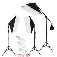 Fotoğraf Stüdyosu LED Aydınlatma Kiti 50x70 CM Oto Fold yansıtıcı Softbox + 2 M Işık Standı + E27 5500 K LED Lamba + 135 cm cholder kol