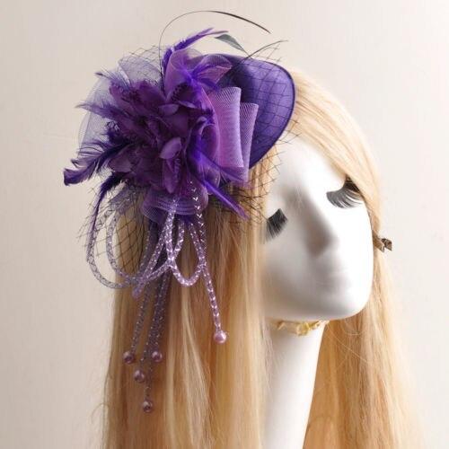 4cd5c5733291 Femmes Violet Fleur Fascinateur Partie Pilulier Plume Chapeau Cheveux Clip  Dames Fascinateur Fleur De Plume Coiffe Accessoires Cheveux