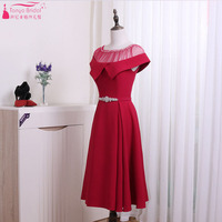 Burgundy A Line Homecoming Dresses Sheer Neck Tea Length Party Formal Dresses Three Color Back To School Wear ZHM041