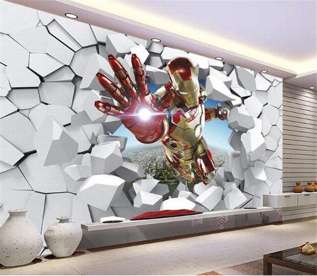 View Iron Man Wallpaper Giant Wall Murals Cool Photo Boys Room Decor Tv Background Bedroom Hallway Kids