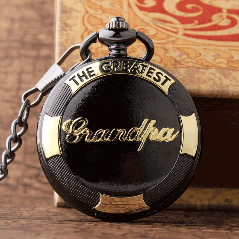 Grandfather pocket fob watches Luxury Gold THE GREATEST Grandpa Quartz Pocket Watch Chain Vintage Watches gifts Relogio De Bolso new relogio de bolso carving wolf vintage quartz pocket fob watches pendent chain men women gifts