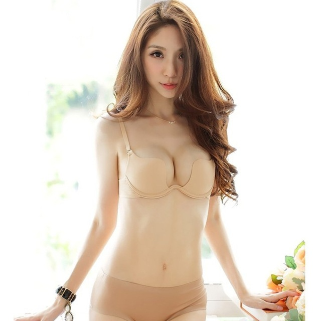 aab8a2e15fc5 Smooth Seamless deep U extremely low cut halter -style wedding dress to wear  gather bra set underwear manufacturers and wholesal