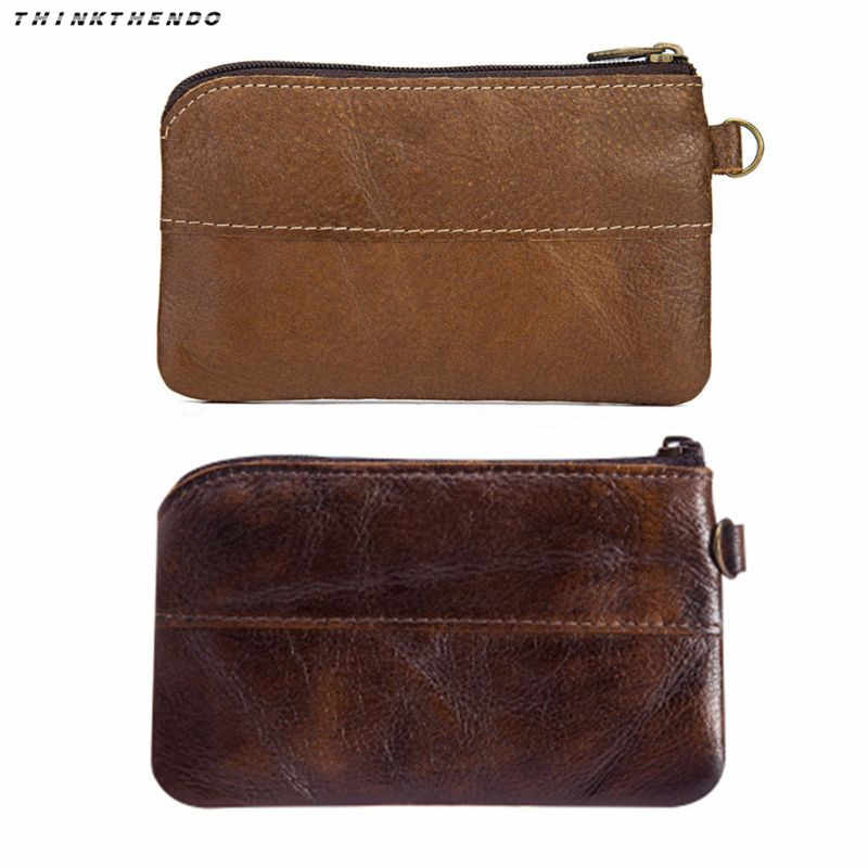 THINKTHENDO Fashion Men's Vintage Leather Mini Coin Purse Card Case Holder Wallet Clutch Male Short Zipper Small Change Bag New