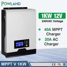 POWLAND-Inversor solar 1000w 220V 1KVA, transformador de onda sinusoidal pura 40A MPPT sin conexión a la red de 12V, convertidor híbrido 20A cargador de CA